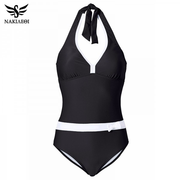 New One Piece Swimsuit Women Vintage Bathing Suits Halter Plus Size Sexy Monokini Summer Beach Wear Swim Extra Image 5
