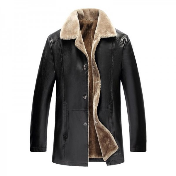New Products Winter Leather Jackets Business Casual Mens Jackets Plus velvet Leather Jackets Windproof coat Overcoat