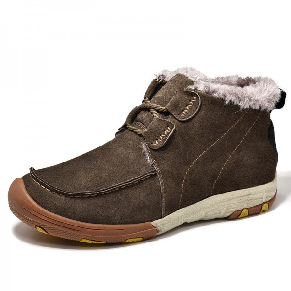New Roman Winter Fur Warm Snow Boots for Men Sneakers Male Top Suede Leather Casual Shoes Ankle Boots Extra Image 2