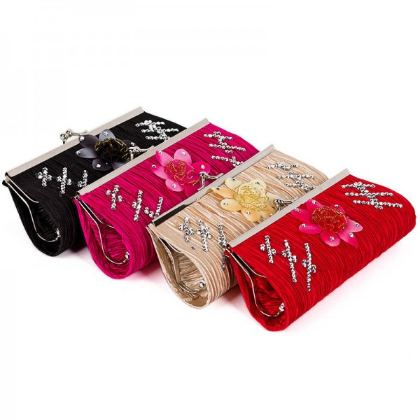 New Satin Rhinestone Clutches Handbags Wedding Bridal Party Prom Clutches Bags Ruched Purse For Women Thumbnail