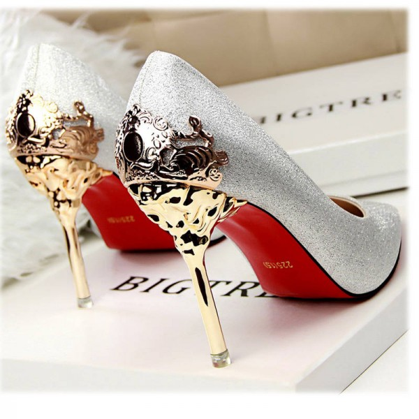 New Sexy Metal Heel Suede Leather High Heel Pumps New Fresh Design Women Thumbnail