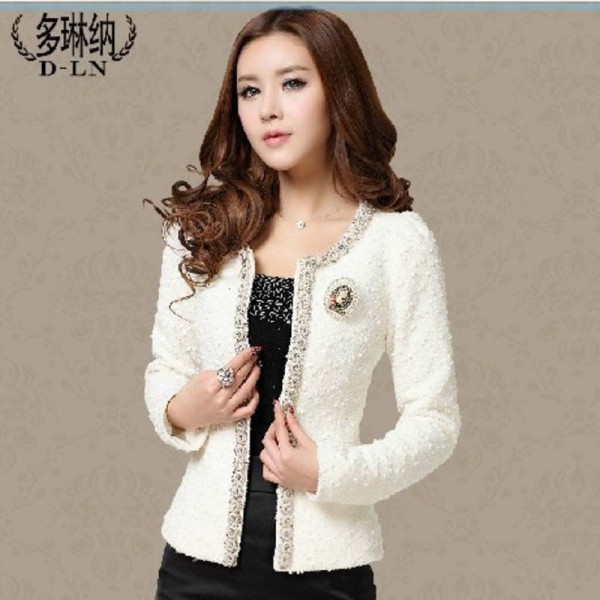 New Short Design Coats Outwear Elegant Beaded Long Sleeve For Women Thumbnail