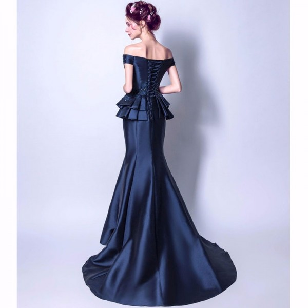 New Sleeveless Boat Neck Evening Gowns Beading Satin Floor Length Luxury Mermaid Evening Dress Formal Party Ware Extra Image 3