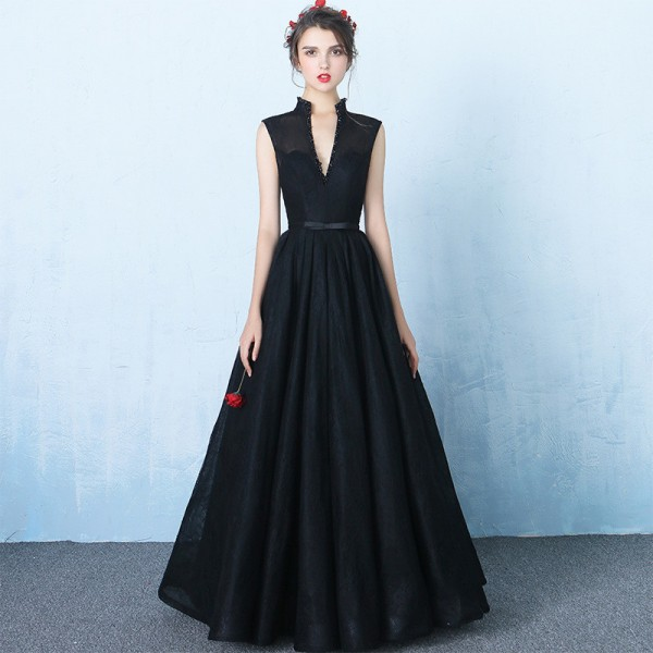 New Sleeveless V Neck Evening Dresses Simple Bling Sequined Lace Up Bow Sexy Backless Evening Formal Gown Extra Image 3
