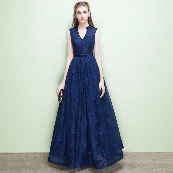 New Sleeveless V Neck Evening Dresses Simple Bling Sequined Lace Up Bow Sexy Backless Evening Formal Gown Extra Image 5