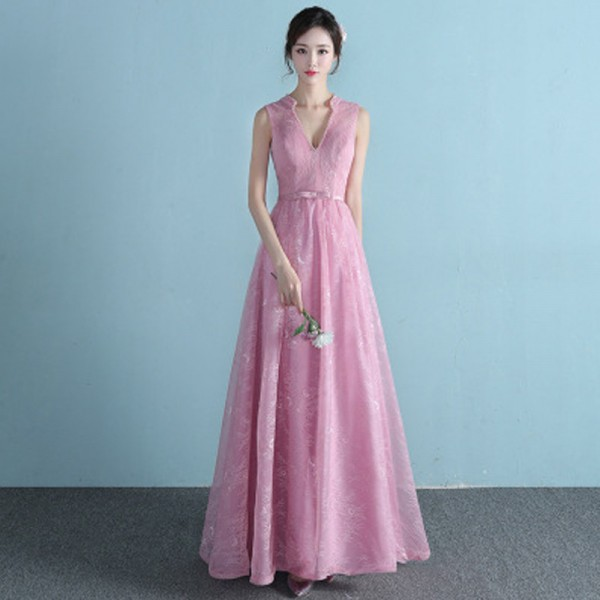 Buy New Sleeveless V Neck Evening Dresses Simple Bling Sequined Lace ...