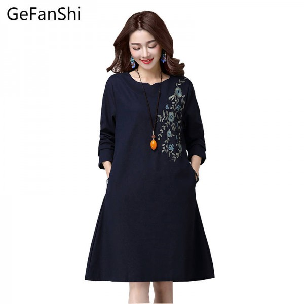 New Spring Autumn Embroidery Chinese Style Women Dress Loose Long Sleeve Casual Dress Thumbnail