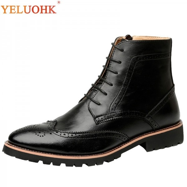 New Spring Autumn Men Boots Pointed Toe Leather Boots Men Genuine Leather Top Quality Ankle Boots For Males Extra Image 1