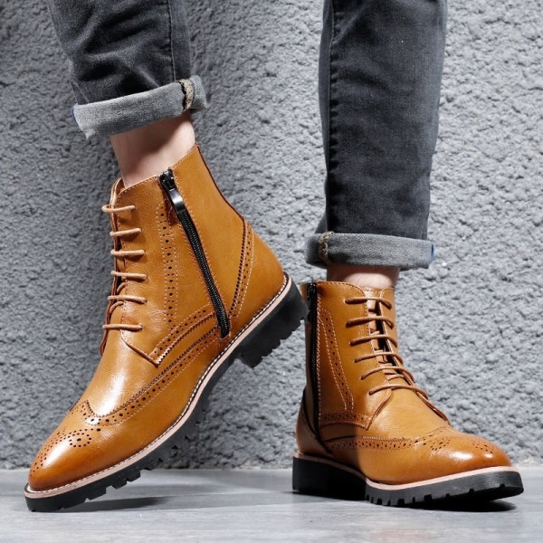 New Spring Autumn Men Boots Pointed Toe Leather Boots Men Genuine Leather Top Quality Ankle Boots For Males Extra Image 5
