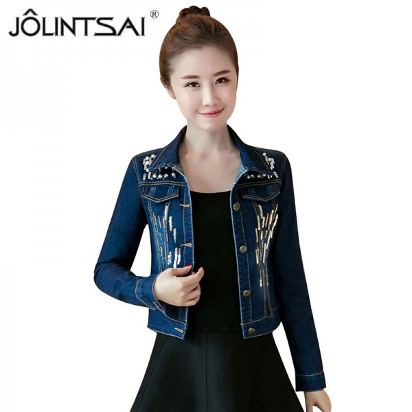 New Spring Autumn Sequined Embroidery Denim Jacket Women Fashion Slim Beading Short Jeans Overcoat Ladies Extra Image 1