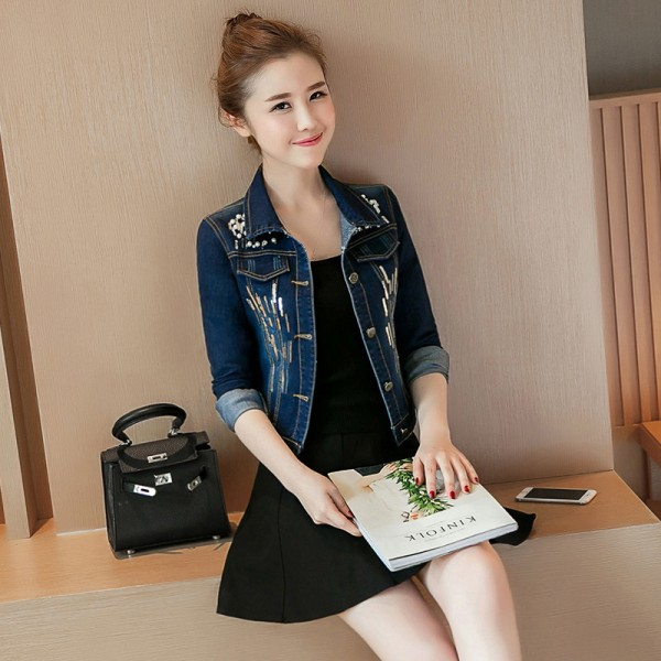New Spring Autumn Sequined Embroidery Denim Jacket Women Fashion Slim Beading Short Jeans Overcoat Ladies Extra Image 2