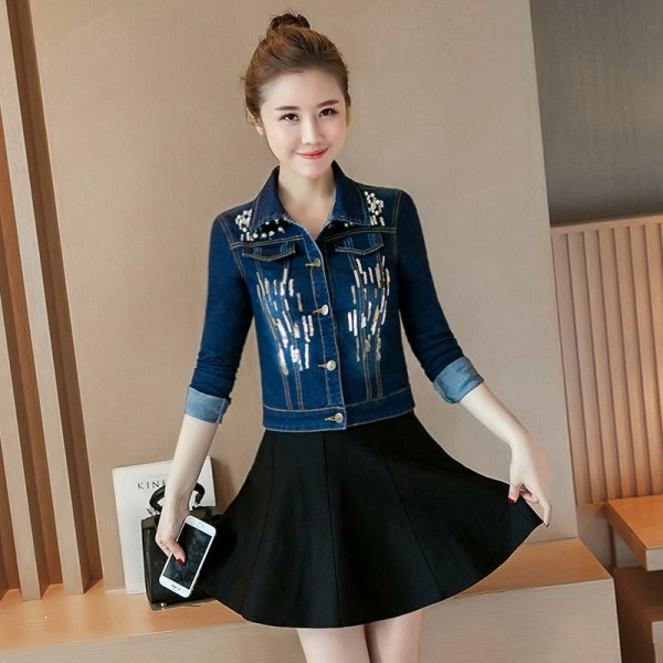 New Spring Autumn Sequined Embroidery Denim Jacket Women Fashion Slim Beading Short Jeans Overcoat Ladies Extra Image 4