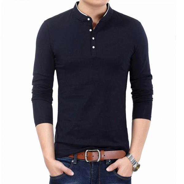 New Spring Autumn T Shirt Men Pure Cotton T Shirt Men Solid Color Tees Mandarin Collar Long Sleeve Top Tees For Male Extra Image 2