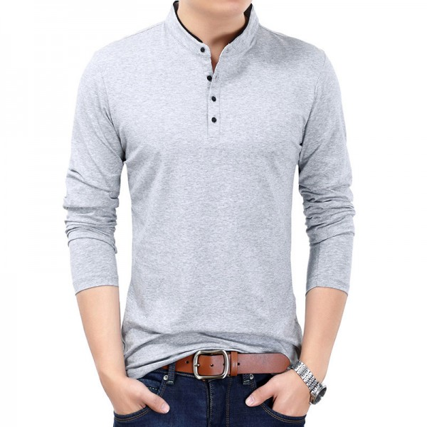 New Spring Autumn T Shirt Men Pure Cotton T Shirt Men Solid Color Tees Mandarin Collar Long Sleeve Top Tees For Male