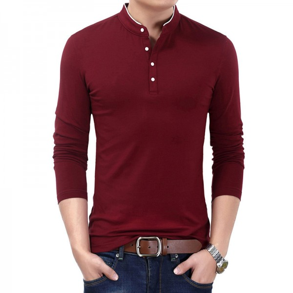 New Spring Autumn T Shirt Men Pure Cotton T Shirt Men Solid Color Tees Mandarin Collar Long Sleeve Top Tees For Male Extra Image 4