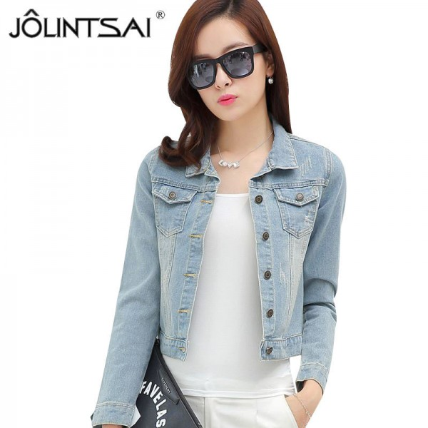 New Spring Autumn Vintage Fashion Slim Denim Jacket For Women Casual Frayed Jeans Jacket Woman Denim Coat Extra Image 1