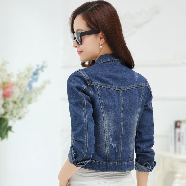 New Spring Autumn Vintage Fashion Slim Denim Jacket For Women Casual Frayed Jeans Jacket Woman Denim Coat Extra Image 6