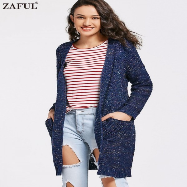 New Spring Autumn Women Knitted Sweaters Solid Color Blue Split Long Cardigans with Pockets Thick Outwear for Ladies Extra Image 1