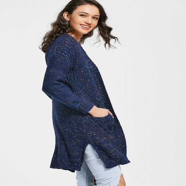 New Spring Autumn Women Knitted Sweaters Solid Color Blue Split Long Cardigans with Pockets Thick Outwear for Ladies Extra Image 2