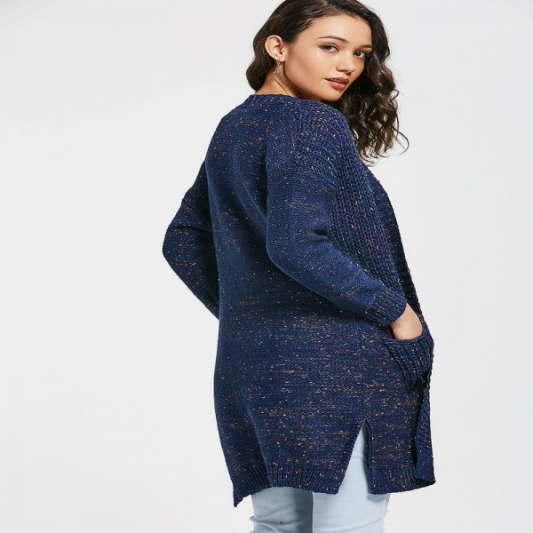 New Spring Autumn Women Knitted Sweaters Solid Color Blue Split Long Cardigans with Pockets Thick Outwear for Ladies Extra Image 3