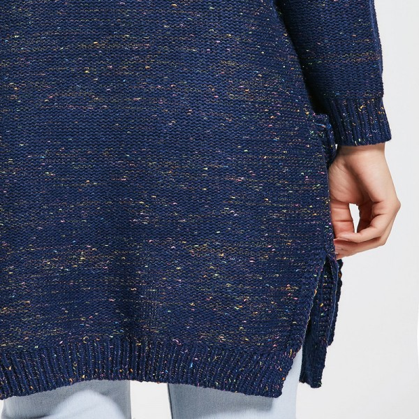 New Spring Autumn Women Knitted Sweaters Solid Color Blue Split Long Cardigans with Pockets Thick Outwear for Ladies Extra Image 4