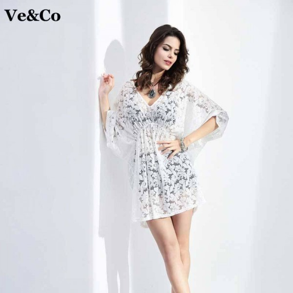 New Spring Bikini Beach Cover Ups Beach Wear White V Neck Swimsuit Cover Ups For Women Bathing Dress  Extra Images 0