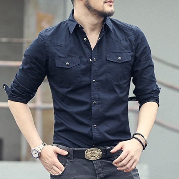 New spring double pocket Mens Fashion shirt brand men long sleeved solid shirts slim fit Casual Men Shirt Social Extra Image 2