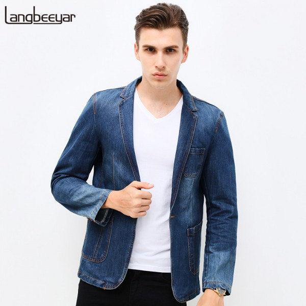 New Spring Fashion Brand Men Blazer Men Trend Jeans Suits Casual Suit Jean Jacket Men Slim Fit Denim Jacket Suit Men Extra Image 1