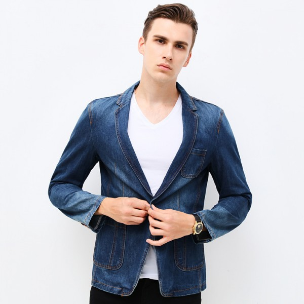 New Spring Fashion Brand Men Blazer Men Trend Jeans Suits Casual Suit Jean Jacket Men Slim Fit Denim Jacket Suit Men Extra Image 4