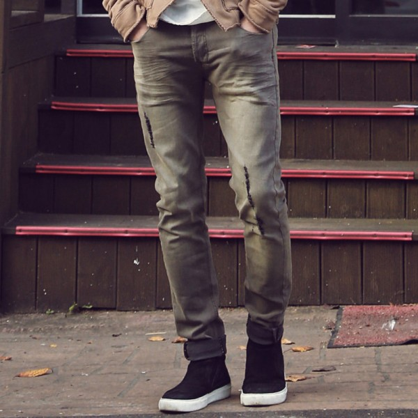New spring retro wash jeans men slim ripped wrinkled design jeans Mens Fashion Brand Slim Straight Jeans new design Extra Image 2