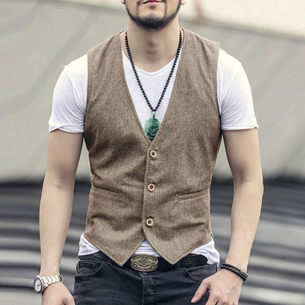 new spring summer Khaki color single breasted cotton linen vest casual mens suit vest wedding waistcoat brand clothing Extra Image 1