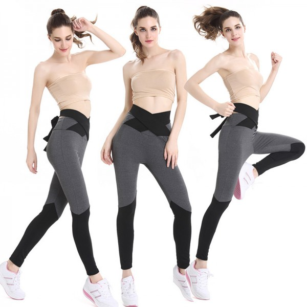 New Stitching High Waist  Fitness Collage Bow Knot Women Leggings Plus Size Workout Fitness Casual Hot Pants Extra Image 1