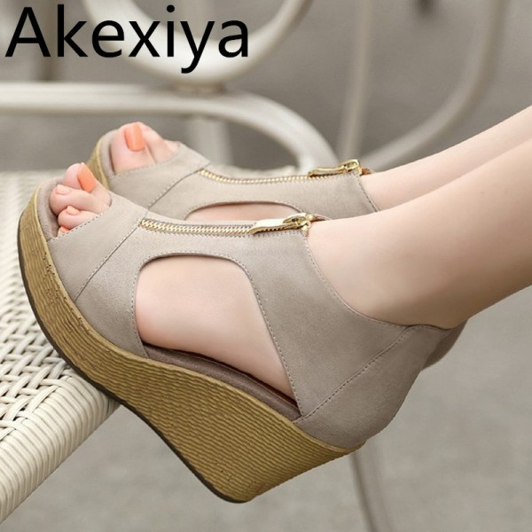 New Style Sandals Woman Summer Platform Wedges Vintage High Heels Open Toe With Zippers Sandalias Zapatos Mujer Extra Image 1