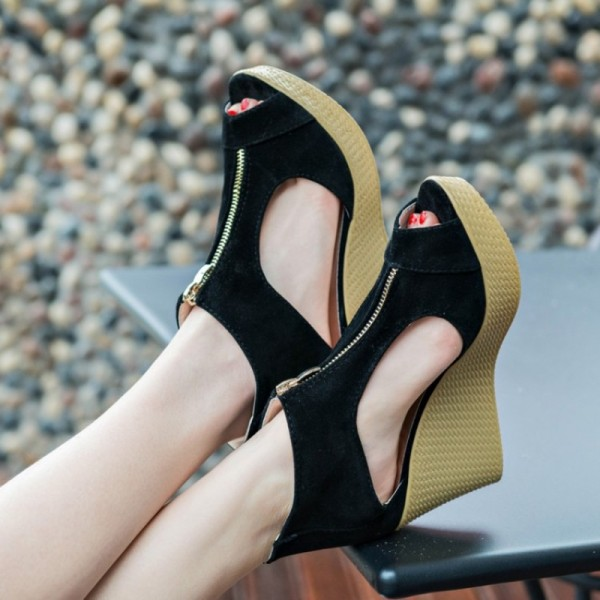 New Style Sandals Woman Summer Platform Wedges Vintage High Heels Open Toe With Zippers Sandalias Zapatos Mujer Extra Image 4