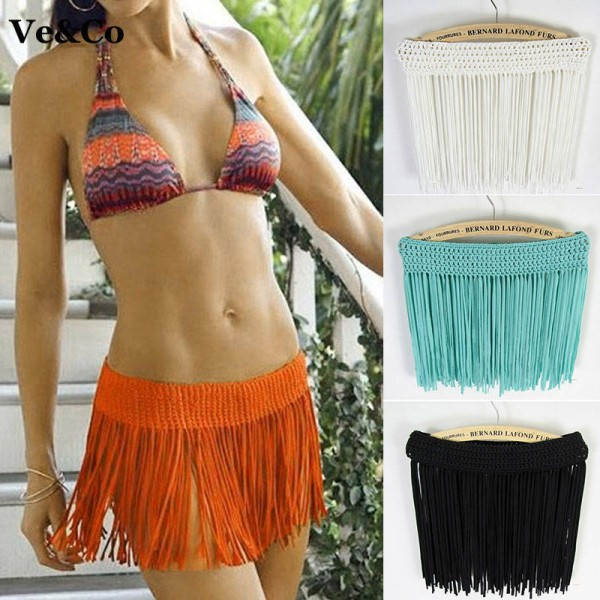 Hot Bikini Skirt Sexy Tassel Bikini Swimwear Ladies Cover Ups Skirt Crochet Hot Bathing Bikini Suit Women Extra Images 1