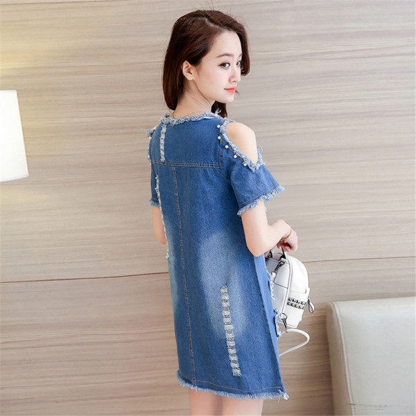 New Summer Big Size Denim Sundress Women Jeans Casual Off Shoulder A Line Embroidery Dresses Cheap Clothing Extra Image 3