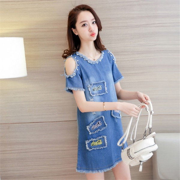 New Summer Big Size Denim Sundress Women Jeans Casual Off Shoulder A Line Embroidery Dresses Cheap Clothing Extra Image 4