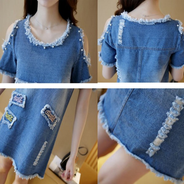 New Summer Big Size Denim Sundress Women Jeans Casual Off Shoulder A Line Embroidery Dresses Cheap Clothing Extra Image 5