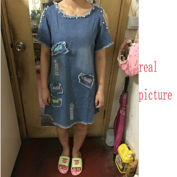 New Summer Big Size Denim Sundress Women Jeans Casual Off Shoulder A Line Embroidery Dresses Cheap Clothing Extra Image 6