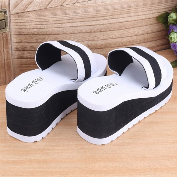 New Summer slippers Women Shoes Striped Platform High Heels Slippers Cheap Women Leopard Flip Flops Shoes Extra Image 3