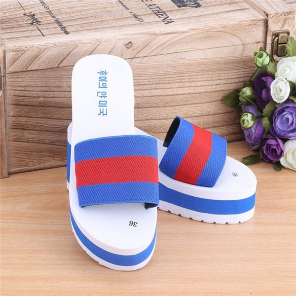New Summer slippers Women Shoes Striped Platform High Heels Slippers Cheap Women Leopard Flip Flops Shoes Extra Image 4