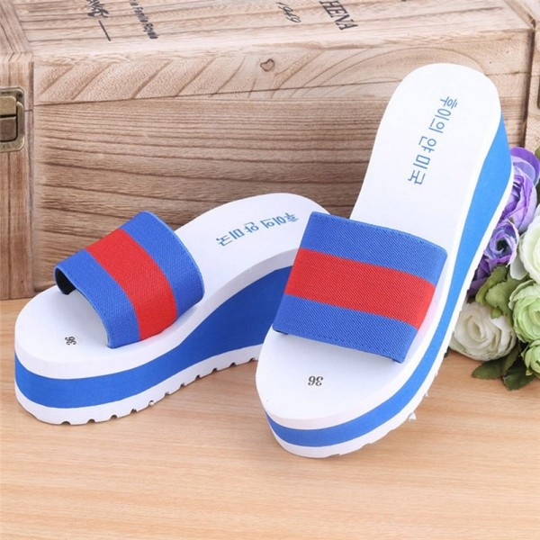 New Summer slippers Women Shoes Striped Platform High Heels Slippers Cheap Women Leopard Flip Flops Shoes Extra Image 5