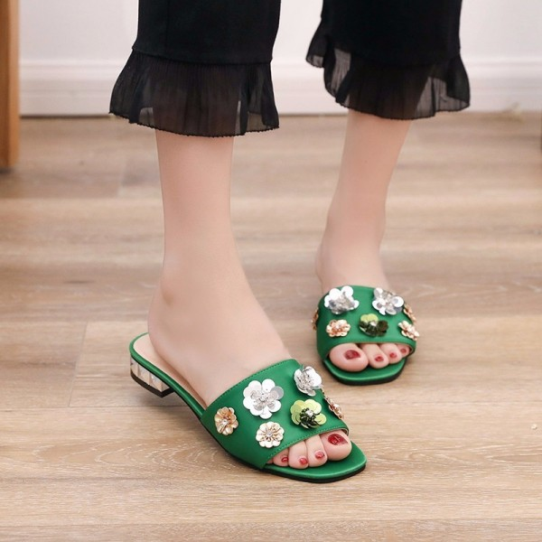 New Summer Womens Slippers Flower Decoration Flat with Leisure Slides Shoes Woman Platform 3 Colors Plus Sizes Extra Image 5