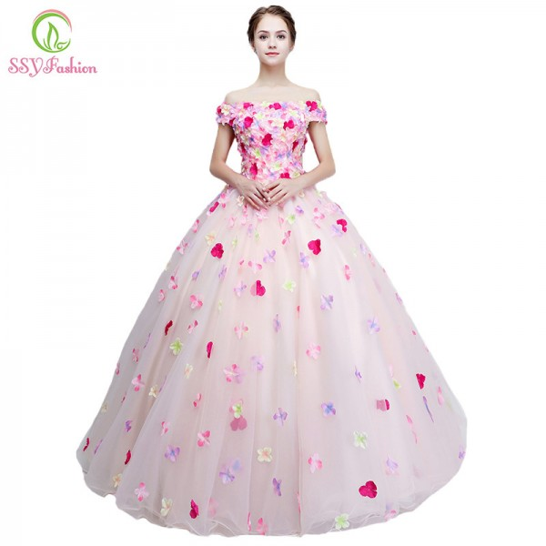 New Sweet Colorful Flower Prom Dress Romantic Flower Fairy Floor Length Long Formal Party Romantic Gown For Women Extra Image 1
