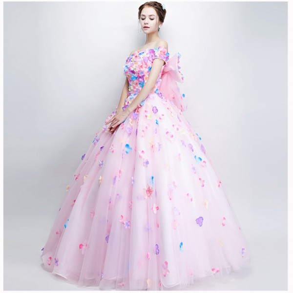 New Sweet Colorful Flower Prom Dress Romantic Flower Fairy Floor Length Long Formal Party Romantic Gown For Women Extra Image 5