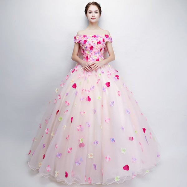 Buy New Sweet Colorful Flower Prom Dress Romantic Flower Fairy Floor ...