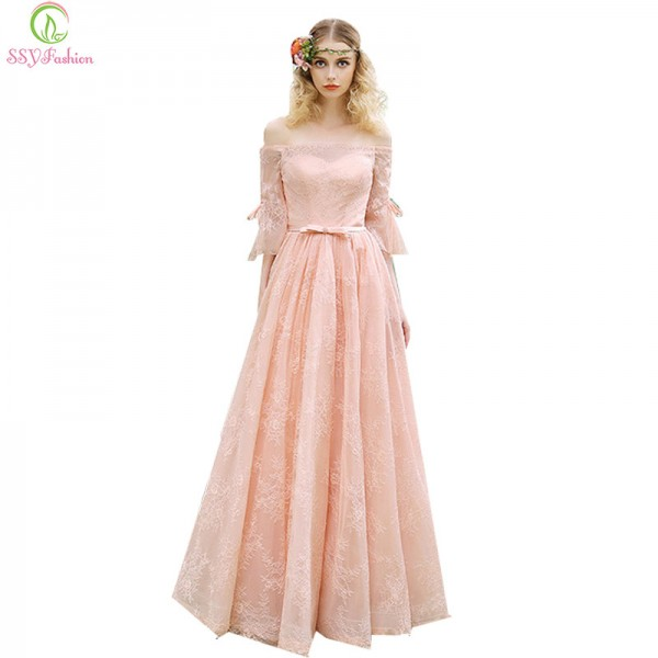 New Sweet Pink Lace Evening Dress The Bride Boat Neck Floor Length Banquet Elegant Party Gown Prom Vestidos Dress Extra Image 1