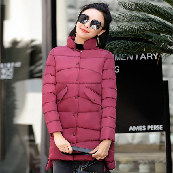 New Warm Winter Jackets Women Stand Collar Cotton Parkas Casual Winter Coat Women Single Breasted Slim Parka