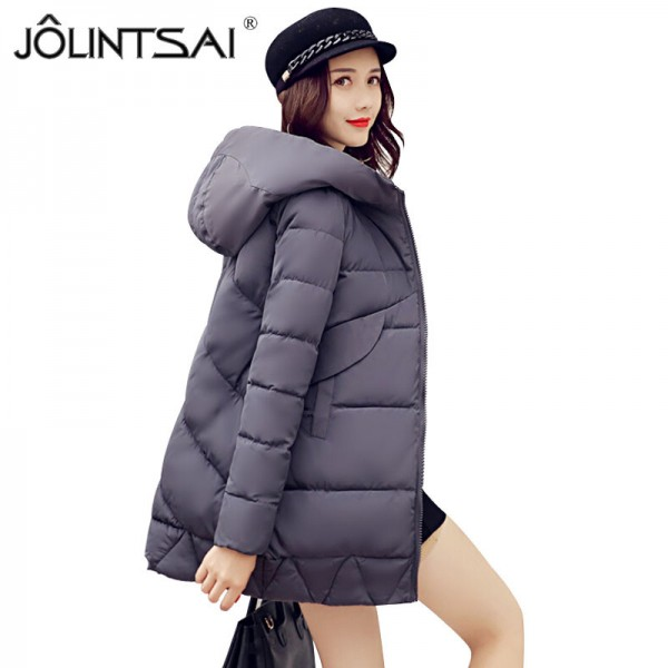 New Winter Coat Slim Cotton Padded Clothing Women Medium Parka Autumn Winter Jacket Casual Hooded Female Outwear Extra Image 1