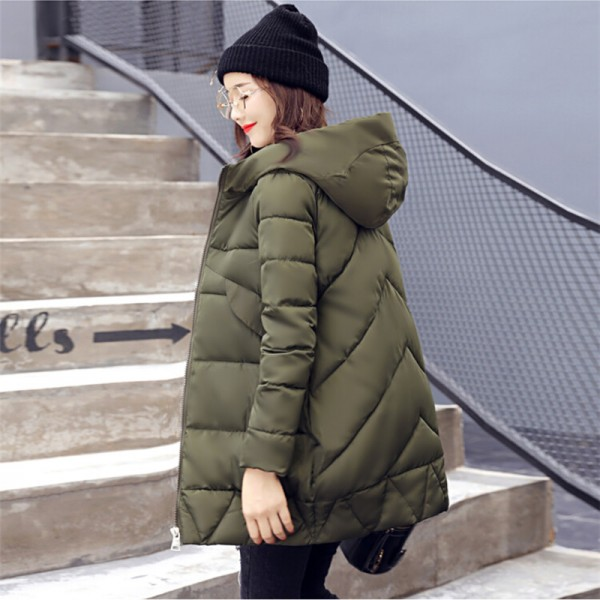 New Winter Coat Slim Cotton Padded Clothing Women Medium Parka Autumn Winter Jacket Casual Hooded Female Outwear Extra Image 4